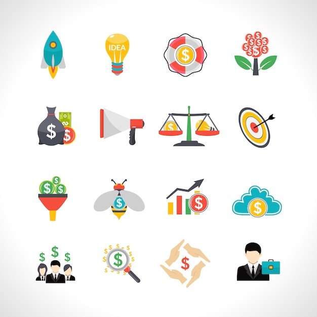 Startup crowdfunding flat icons set Free Vector
