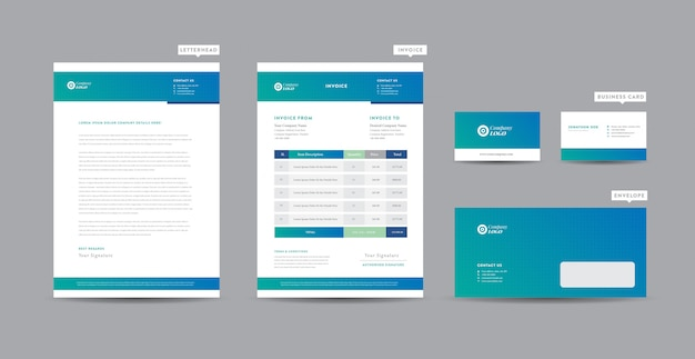 Корпоративный бизнес брендинг идентичность   стационарный дизайн   фирменный бланк   визитная карточка   счет-фактура   конверт   startup design Premium векторы