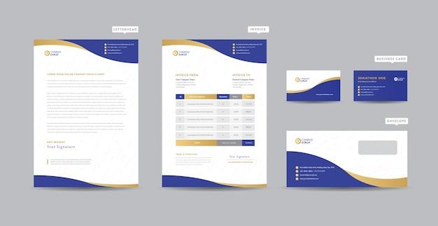 Корпоративный бизнес брендинг идентичность | стационарный дизайн | фирменный бланк | визитная карточка | счет-фактура | конверт | startup design Premium векторы
