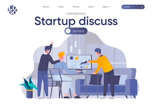 Startup обсудить целевую страницу с заголовком. партнеры обсуждают проект, сотрудничество команды стартапа и работу с аналитикой в офисе. коворкинг и работа в команде ситуации плоской иллюстрации Premium векторы
