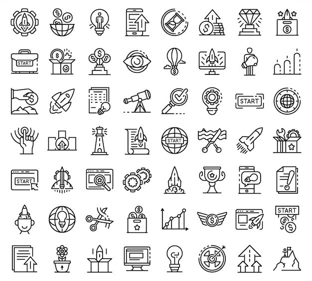 Startup icons set, outline style Premium Vector