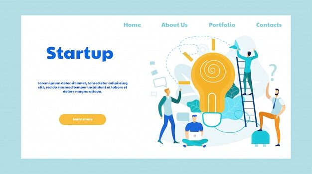 Startup ideas flat vector landing page template Premium Vector