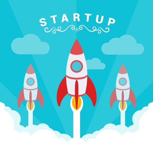 Startup illustration. the rockets takes off against the blue sky and clouds of white smoke. Premium Vector