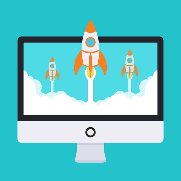 Startup illustration. rockets takes off from the monitor in clouds of white smoke Premium Vector