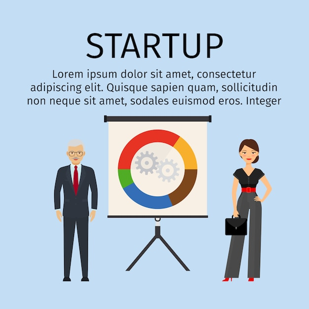 Startup infographic template with business people Premium Vector