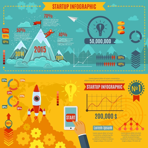 Startup infographics set Free Vector