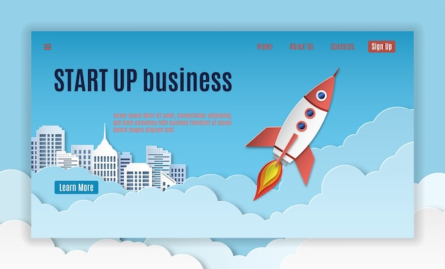 Startup landing. mobil interface template of creative company project starting page  website  and banners form for apps with rocket start Premium Vector