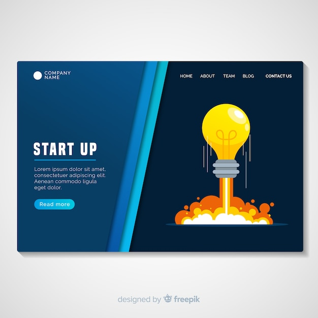 Startup landing page template Premium Vector