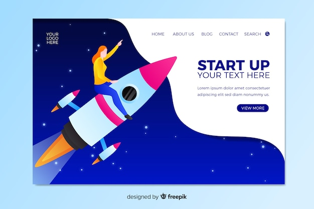 Startup landing page with character on rocket Free Vector