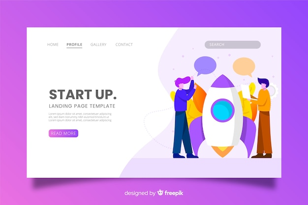 Startup landing page with characters Free Vector
