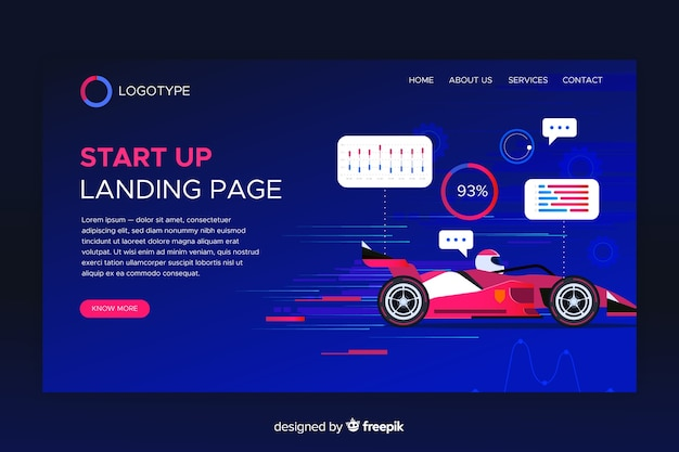 Startup landing page with race car Free Vector