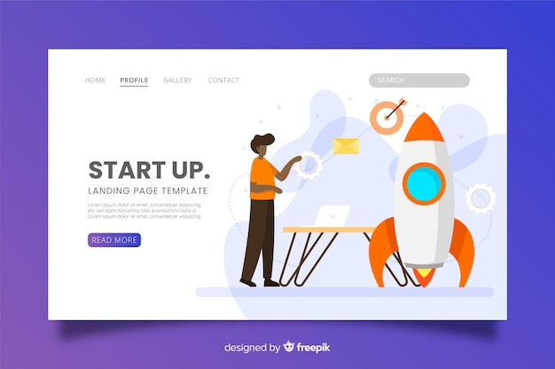 Startup landing page with rocket Free Vector