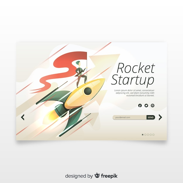 Startup landing page with a rocket Free Vector