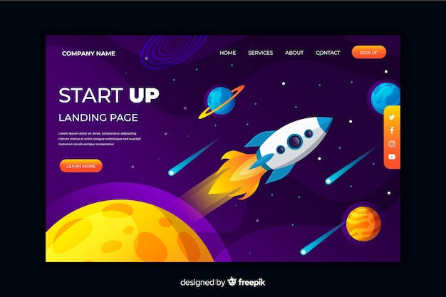Startup landing page with space elements Free Vector