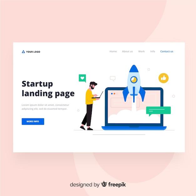 Startup landing page Premium Vector