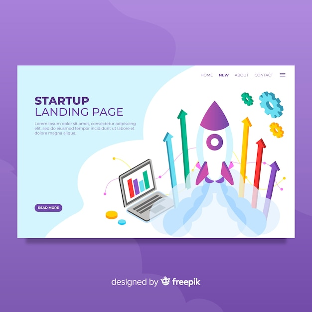 Startup landing page Free Vector
