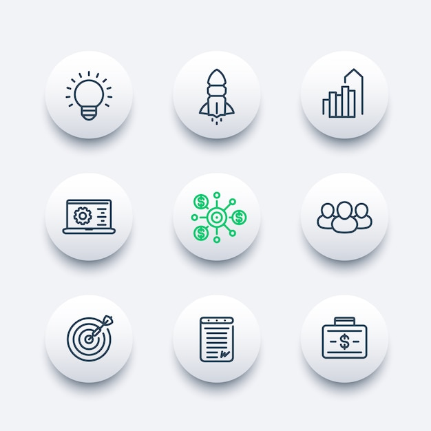 Startup line icons set, product launch, development, funding, initial capital, contract, target market, customers Premium Vector
