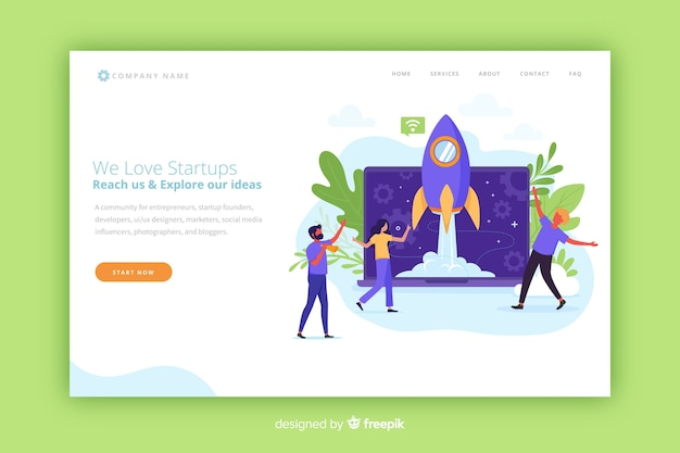 Startup modern landing page with a rocket Free Vector