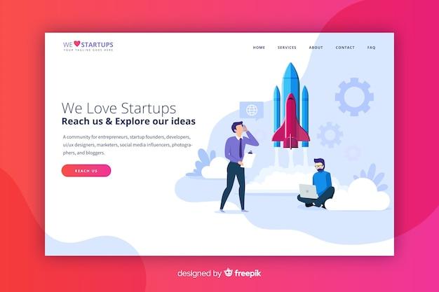Startup modern landing page Free Vector