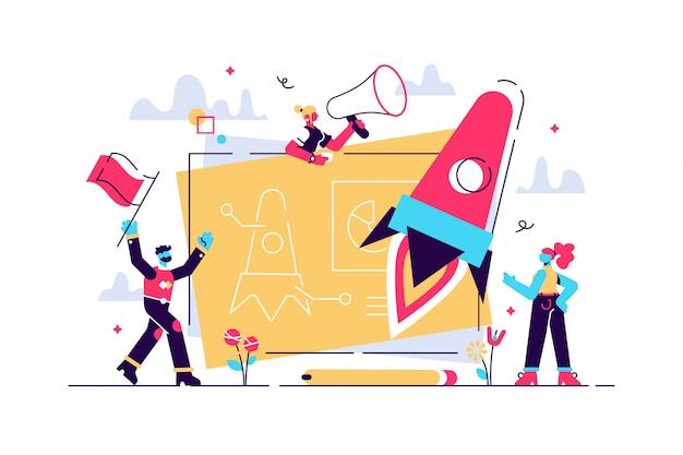Запуск нового бизнес-проекта. процесс развития. инновационный продукт, креативная идея. запуск запуска, запуск предприятия, концепция предпринимательства. изолированная концепция творческой иллюстрации Premium векторы