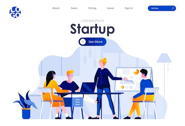 Startup project flat landing page design web template Premium Vector