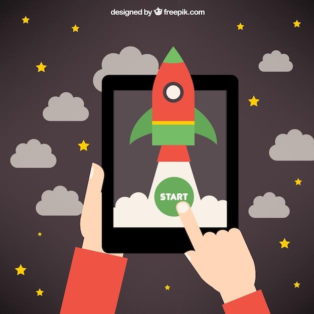 Startup rocket idea Free Vector