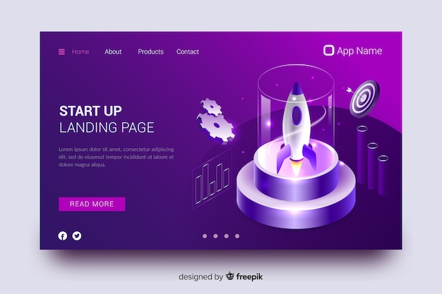 Startup rocket landing page Free Vector