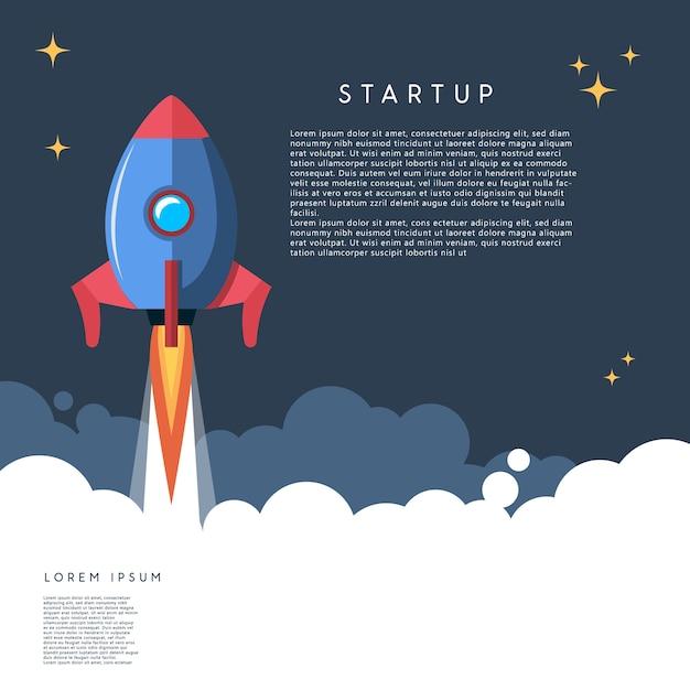 Startup. rocket launch illustration in cartoon style.  image Premium Vector