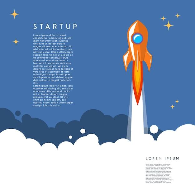 Startup. rocket launch illustration in cartoon style. Premium Vector