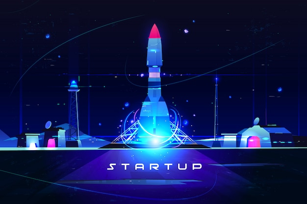 Startup rocket, launch of marketing idea, new company launching Free Vector