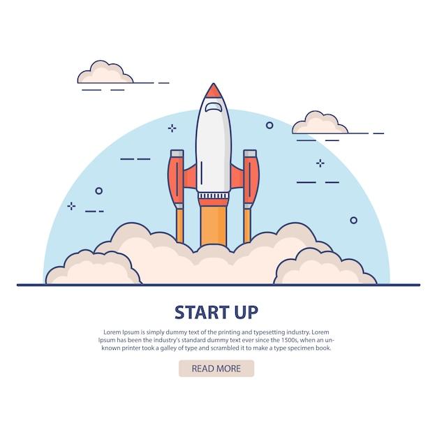 Startup Rocket Launch. Vector