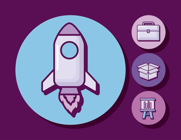 Startup rocket with business icons Free Vector