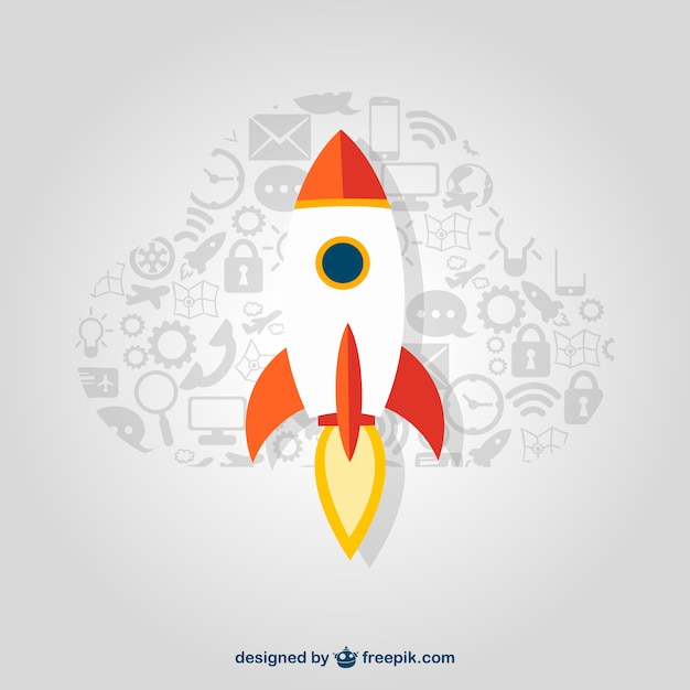 Startup rocket with icons Free Vector