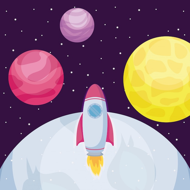 Startup rocket with moon and planets Premium Vector