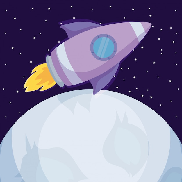 Startup rocket with moons icon Premium Vector