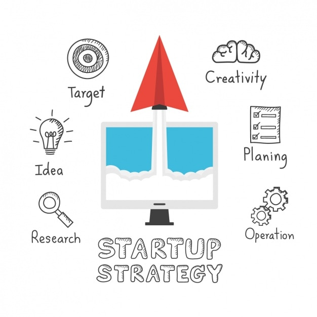 Startup strategy icons Free Vector