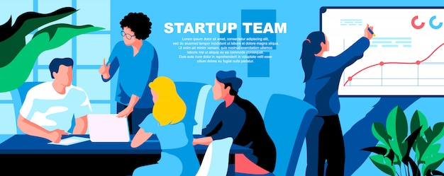 Startup team flat landing page template banner layout. Premium Vector
