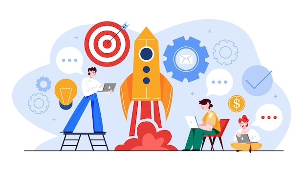 Startup and teamwork concept web banner. business profit and financial growth. successful strategy.  illustration in cartoon style Premium Vector