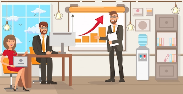 Startup technology. vector flat illustration. Premium Vector