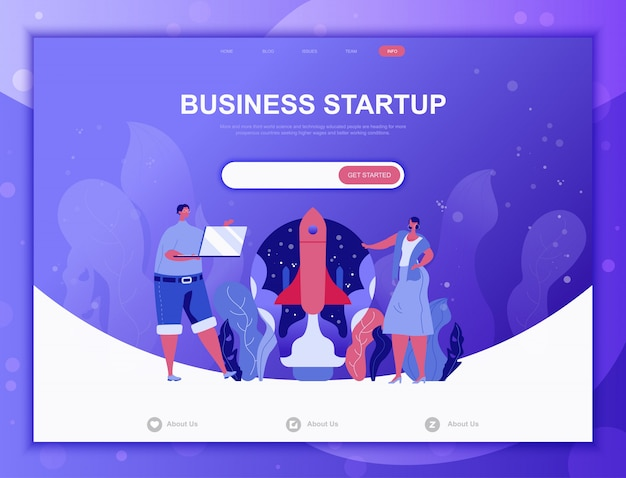 Startup your project flat concept, landing page web template Premium Vector