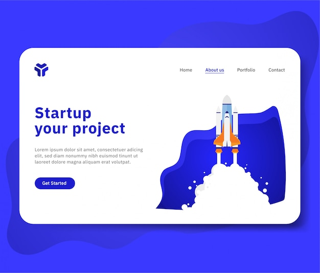 Startup your project for website with spaceship illustration Premium Vector