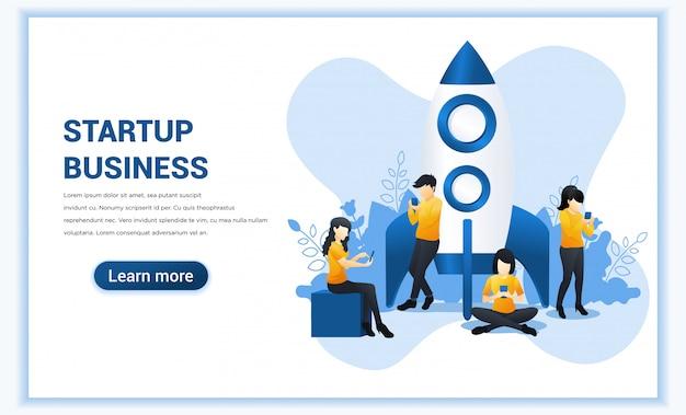 Startup концепция проекта для разработки мобильных приложений и бизнеса. иллюстрация Premium векторы