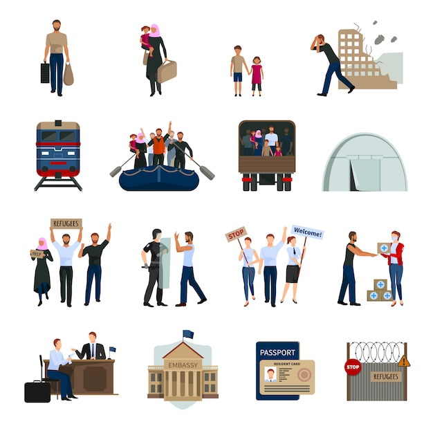 Stateless refugees flat icons set Free Vector