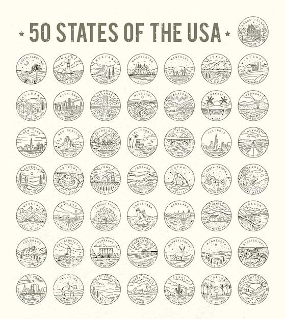 States of the usa. big  line logo bundle. Premium Vector