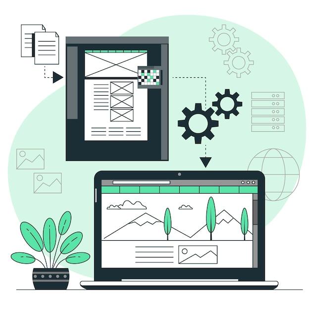 Illustrazione di concetto di sito web statico Vettore gratuito