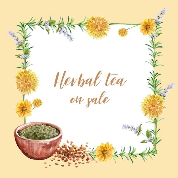 Венок с цветками валика, чашка травяного чая, иллюстрация акварели statice. Бесплатные векторы