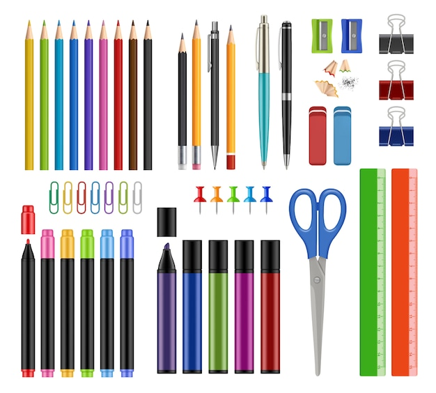 Stationary collection. pen pencils sharpen rubber school education tools or office supply items  realistic s isolated Premium Vector