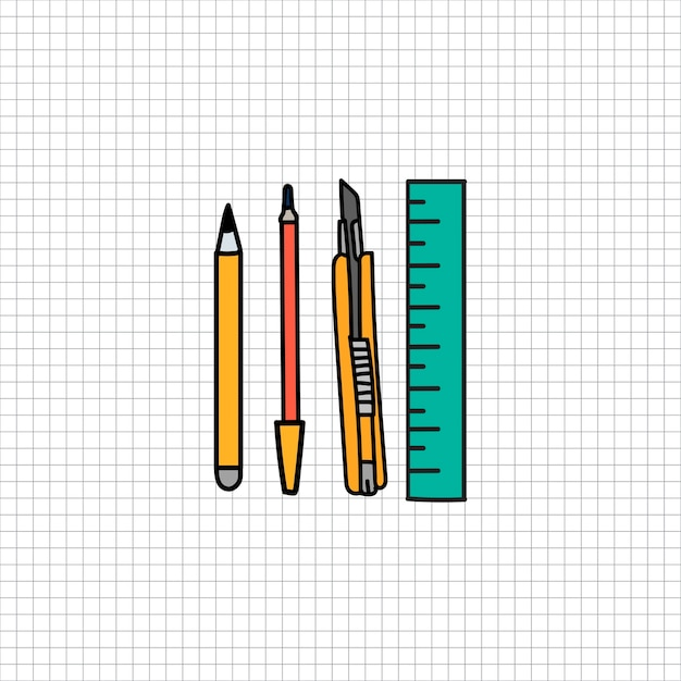 Stationary illustration drawing style Free Vector