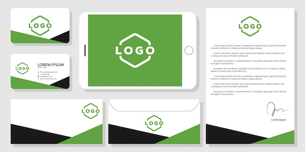 Stationery business card branding mockup template vector Premium Vector