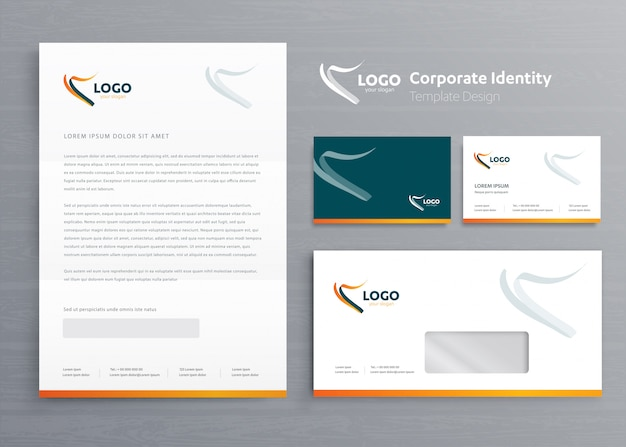Stationery business corporate identity template Premium Vector